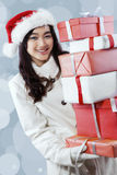 Happy girl get many christmas presents Stock Photography