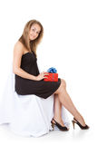 Happy girl with gift royalty free stock image