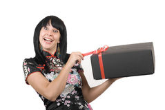 Happy girl with gift stock photography
