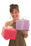 Happy girl with gift Stock Images