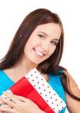Happy girl with gift box Stock Photo