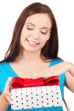Happy girl with gift box Royalty Free Stock Photography