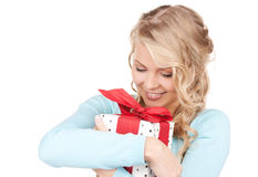 Happy girl with gift box Royalty Free Stock Images