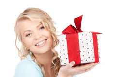 Happy girl with gift box Stock Photography
