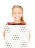 Happy girl with gift box Royalty Free Stock Photos