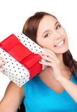 Happy girl with gift box Royalty Free Stock Image