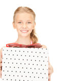 Happy girl with gift box Stock Image