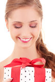 Happy girl with gift box Stock Photo