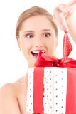Happy girl with gift box Royalty Free Stock Photo