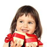 Happy Girl with Gifts Royalty Free Stock Photography