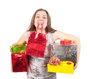 Happy girl with gifts isolated over white Royalty Free Stock Photography
