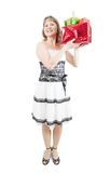 Happy girl with gifts isolated over white Royalty Free Stock Photo