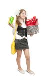 Happy girl with gifts over white Royalty Free Stock Images