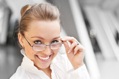 Happy girl with glasses Stock Photo