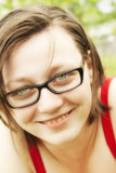 Happy girl with glasses Stock Images