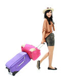 Happy girl going on vacation Stock Photography