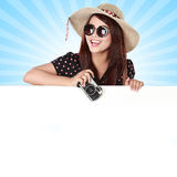 Happy girl going on vacation holding blank paper Royalty Free Stock Images