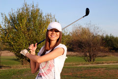 Happy girl golf player Royalty Free Stock Images