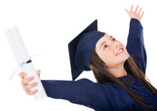 Happy girl graduating Royalty Free Stock Photo