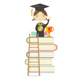 Happy Girl In Graduation Suit Standing On The Highest Book Staircase Represent Successful Education Stock Photos