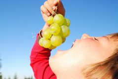 Happy girl with grape outside Royalty Free Stock Photography