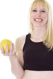 Happy girl with grapefruit Royalty Free Stock Photos