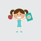 Happy girl. On gray background Stock Illustration