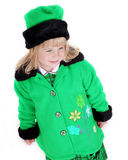 Happy girl in green coat Royalty Free Stock Photo