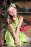 Happy girl in green dress royalty free stock images