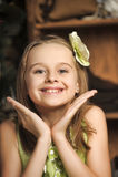 Happy girl in green dress Stock Photos