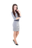 Happy girl in grey dress and belt Stock Photography