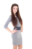 Happy girl in grey dress and belt Stock Images