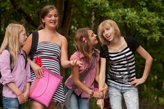 Happy girl group in the park royalty free stock image
