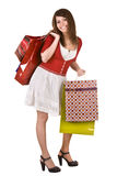 Happy girl with group shopping bag. Royalty Free Stock Images