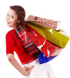Happy girl with group shopping bag. Stock Images