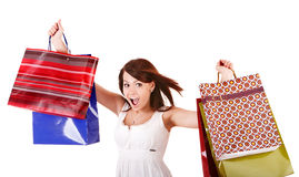 Happy girl with group shopping bag. Royalty Free Stock Photo