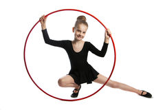 Happy girl gymnast with a hoop Royalty Free Stock Photo