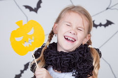 Happy girl on Halloween party Royalty Free Stock Photo