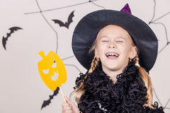 Happy girl on Halloween party Stock Image