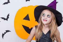 Happy  girl on Halloween party Stock Images