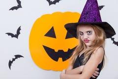Happy  girl on Halloween party Stock Photos