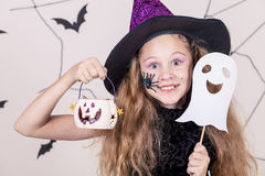 Happy girl on Halloween party Stock Photography
