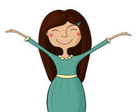 Happy girl, hands up Royalty Free Stock Image