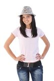 Happy girl in hat Stock Photos