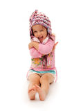 Happy Girl With Hat On White. Background Stock Image