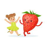 Happy girl having fun with fresh smiling strawberry, healthy food for kids colorful characters vector Illustration. On a white background Stock Photos