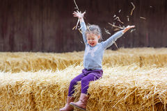 Happy girl having fun with hay on a farm Stock Photography