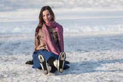 Happy girl having fun on ice skates. Royalty Free Stock Photos