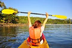 Free Happy Girl Having Fun On Kayak Stock Images - 48921954