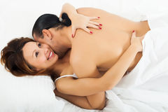 Happy girl having sex Royalty Free Stock Images